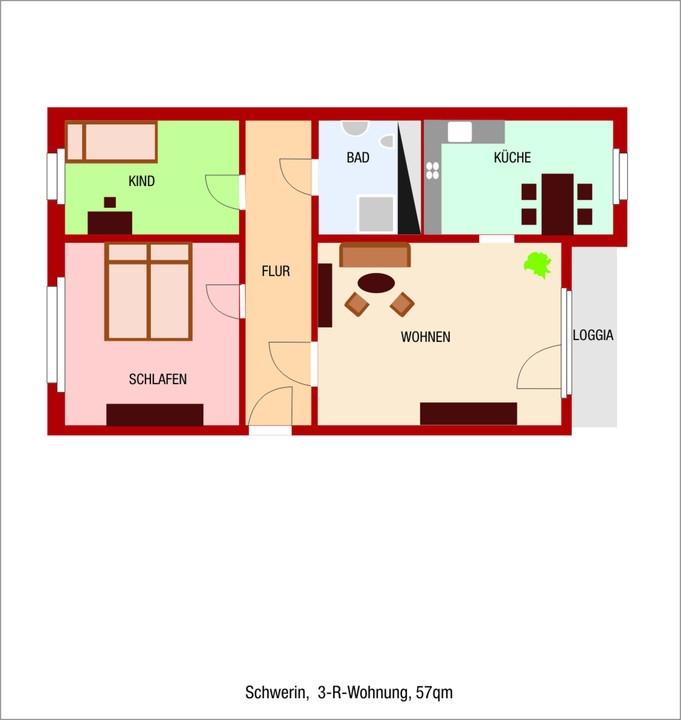 3 raum wohnung schwerin sanierte wohnung mit netten nachbarn gutburg. Black Bedroom Furniture Sets. Home Design Ideas